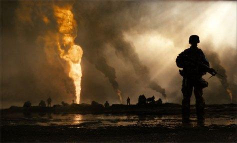 Herkenbare scène uit de oorlogsfilm Jarhead